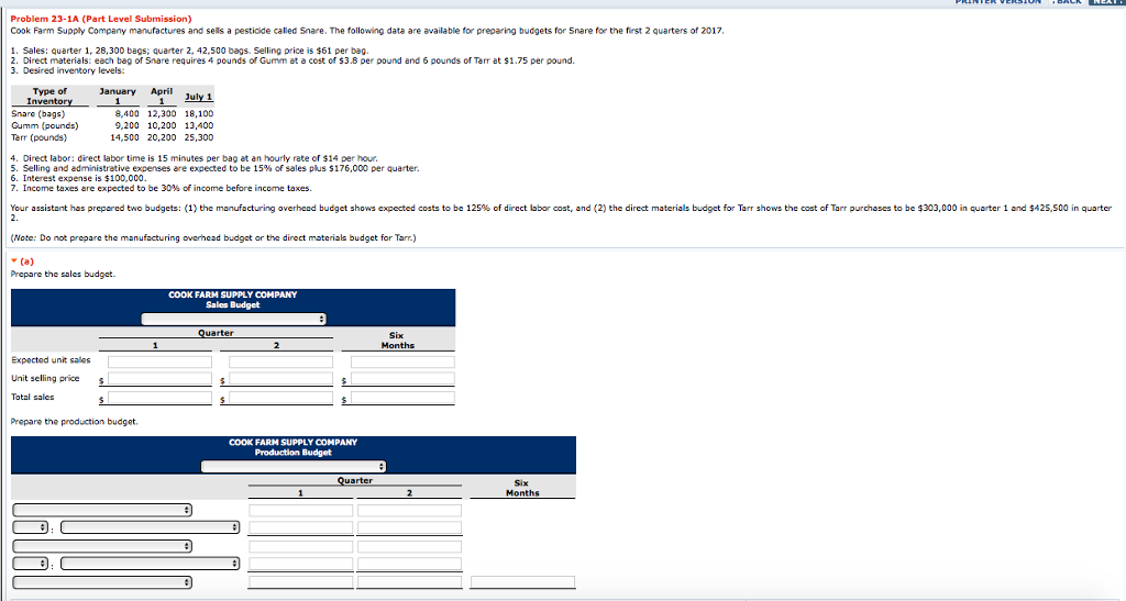 Problem 23 1A Part Level Submission Cook Farm Supply Company Manufactures And Sells