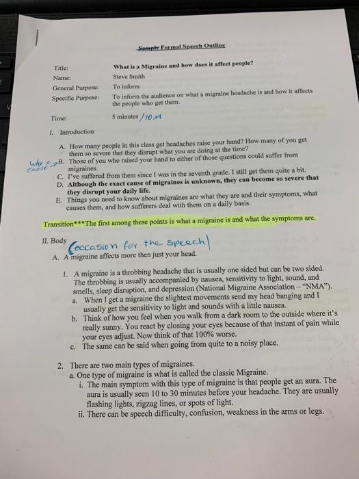 5 minute informative speech outline