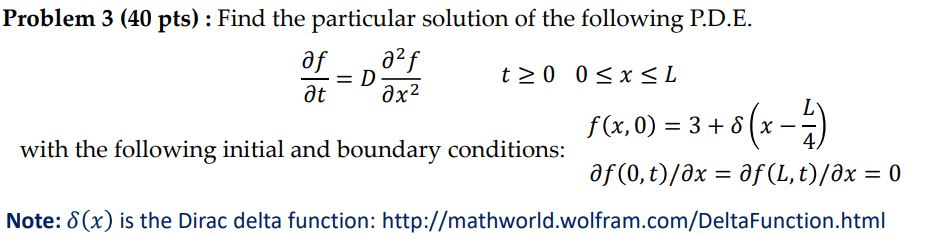 Problem 3 40 Pts Find The Particular Solution O Chegg Com