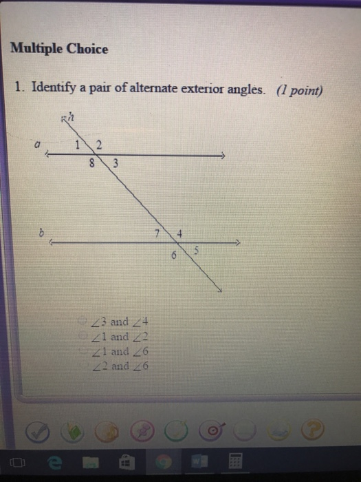 Identify A Pair Of Alternate Exterior Angles. Point) 43 And