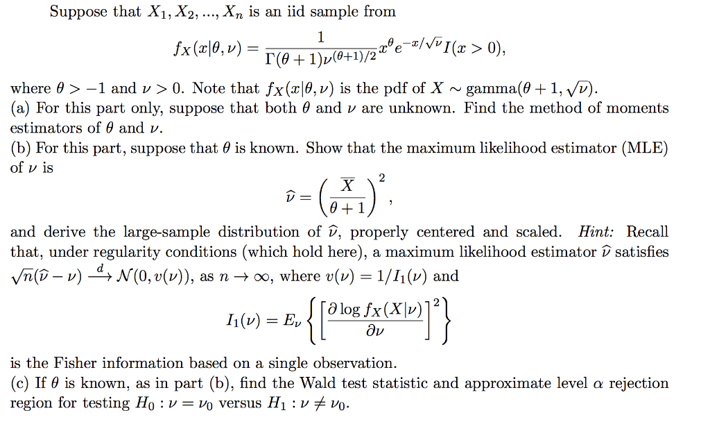 Solved: Suppose That X1, X2,    , Xn Is An Iid Sample From