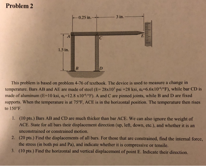 Problem 2 .25 in.-3 in. 1.5 in This problem is based on problem 4-76 of textbook. The device is used to measure a change in t