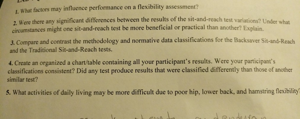 1 What Factors May Influence Performance On A Flexibility Essment Were There Any Significant Differences