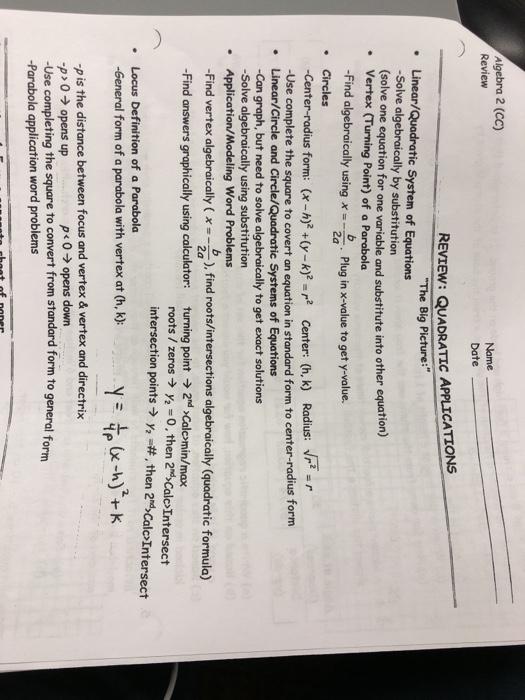 Solved Algebra 2 Cc Review Name Date Review Quadratic