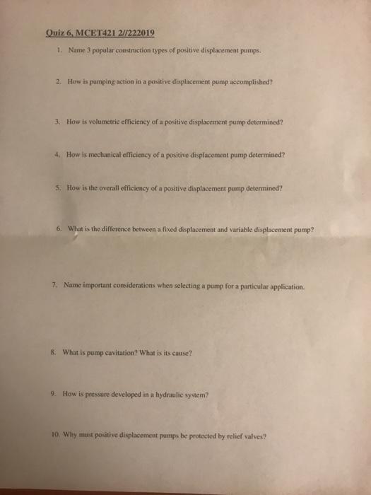 Solved: Quiz 6, MCET421 2//222019 1  Name 3 Popular Constr