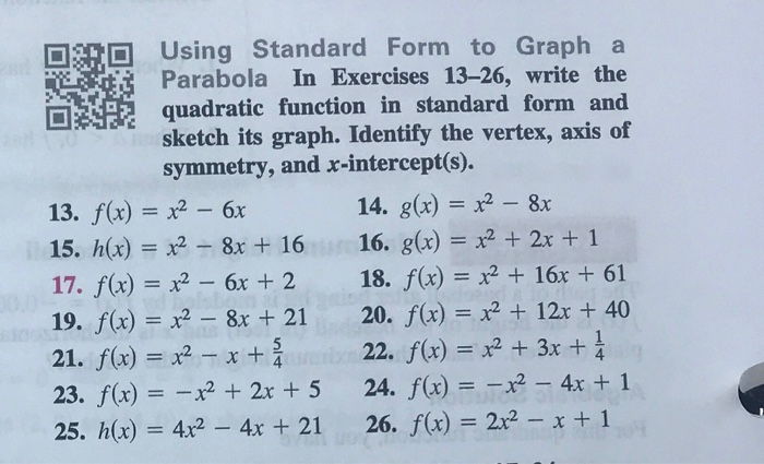 Solved Using Standard Form To Graph A Parabola In