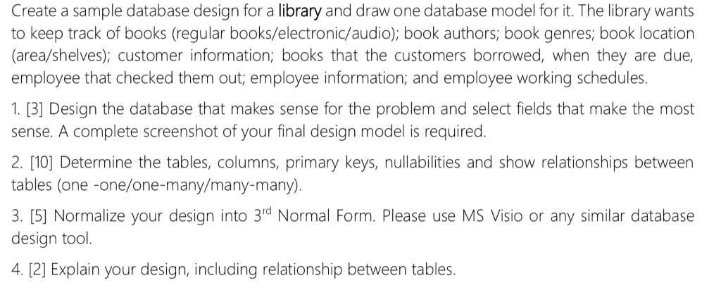 Create A Sample Database Design For A Library And
