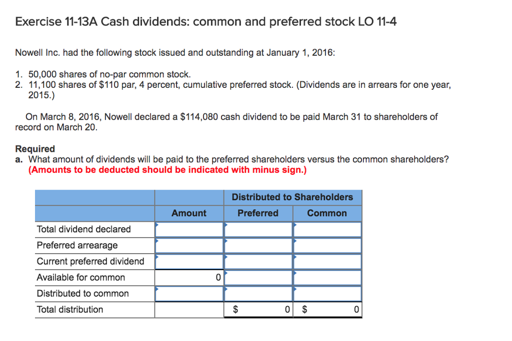 Solved Exercise 11 13a Cash Dividends Common And Preferr