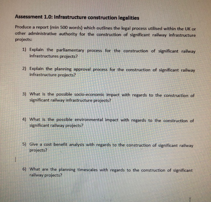 Assessment 1 0: Infrastructure Construction Legali