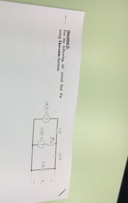 2Ω -,2 Ω For the following AC circuit find Vo using Thevenin theorem 2Ω 2/90 A (t