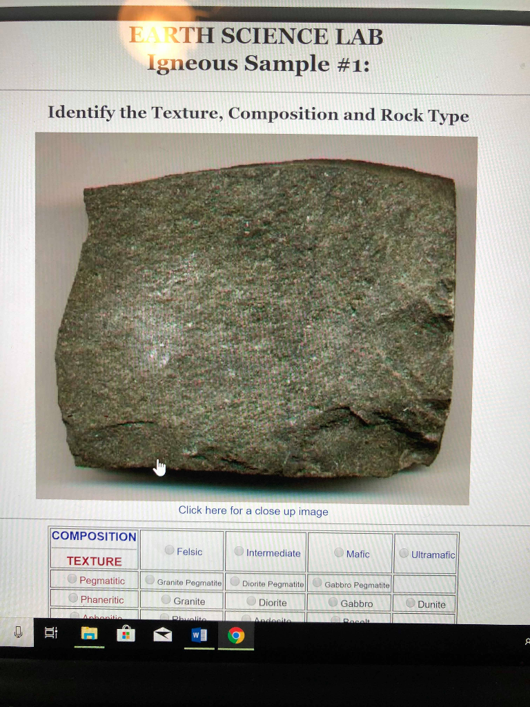 Solved: Igneous Rock Sample Identification  From The Sampl