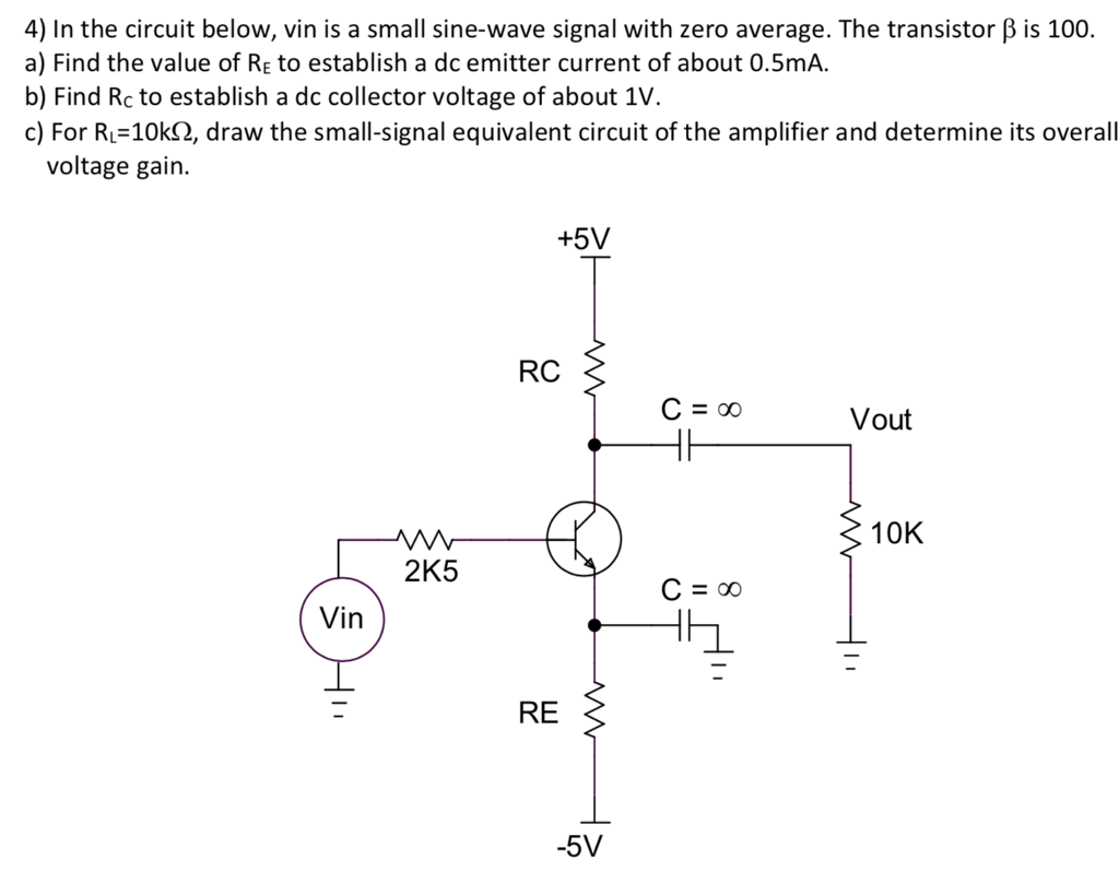 Solved 4 In The Circuit Below Vin Is A Small Sine Wave Series Rc Or Rl Into An Equivalent Parallel Signal With