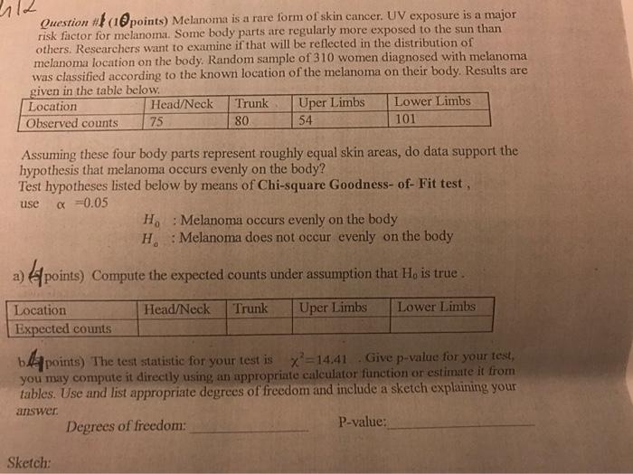 Solved Question Ku Points Melanoma Is A Rare Form Of Sk Chegg Com