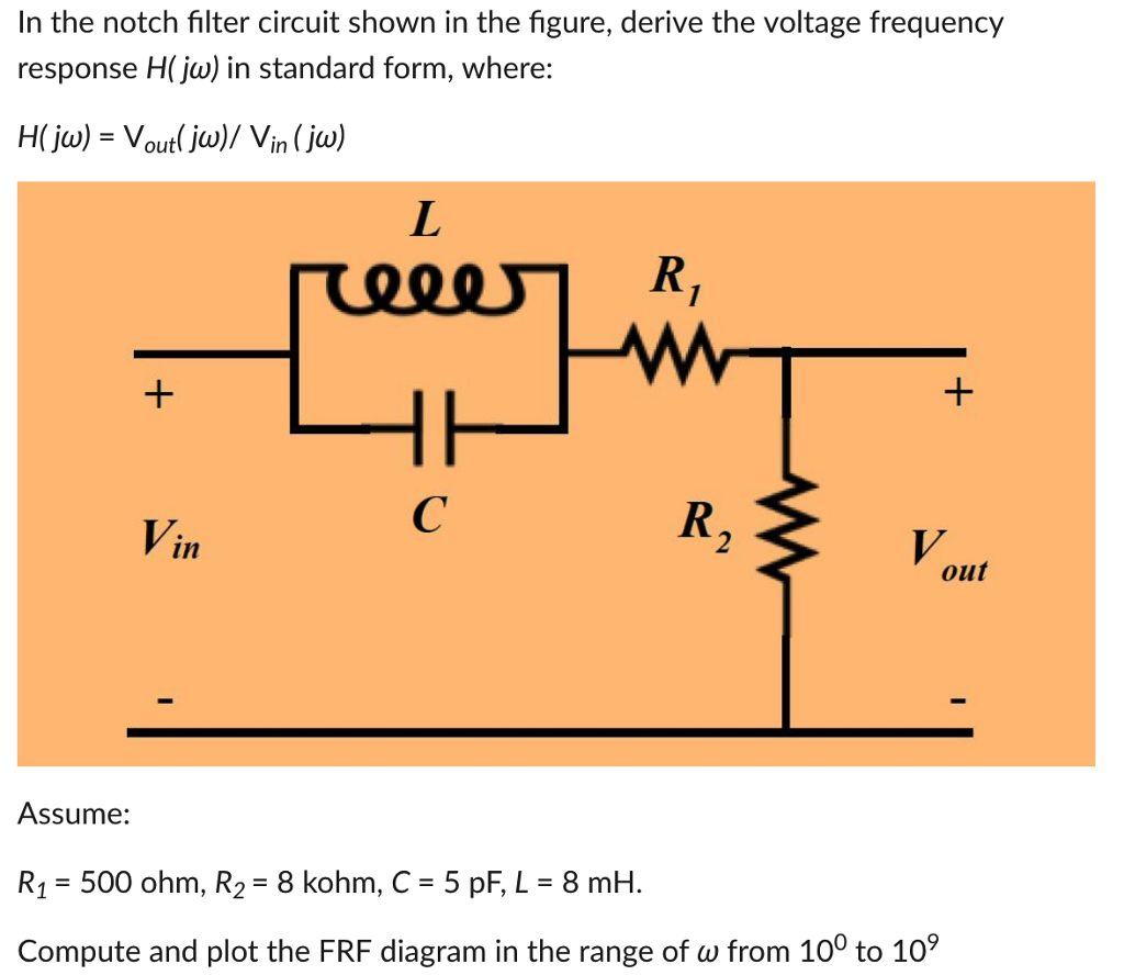 Solved In The Notch Filter Circuit Shown In The Figure D