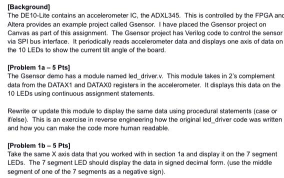 Background] The DE10-Lite Contains An Acceleromet    | Chegg com