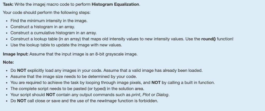 Task: Write The Imagej Macro Code To Perform Histo