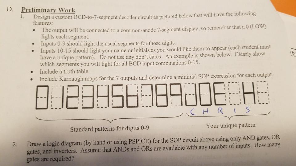solved d preliminary work design a custom bcd to 7 segm