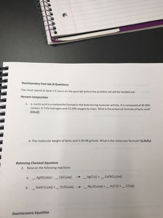 Solved: Stoichiometry Post-lab (8 Questions) You Must Spen