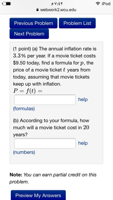 question the annual inflation rate is 33 per year if a movie ticket costs 950 today find a formula f