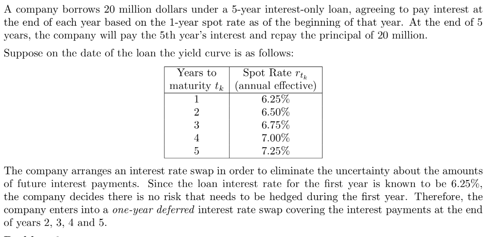 A Company Borrows 20 Million Dollars Under 5 Year Interest Only Loan