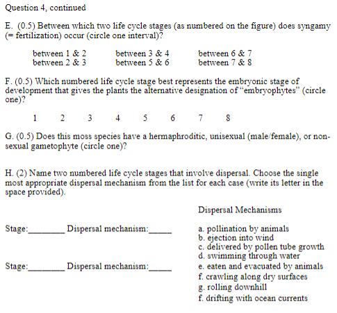 Question 4, continued E. (0.5) Between which two life cycle stages (as numbered on the figure) does syngamy fertilization) oc