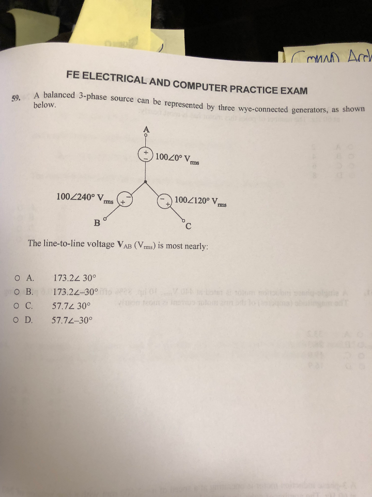 Solved: FE ELECTRICAL AND COMPUTER PRACTICE EXAM A Balance