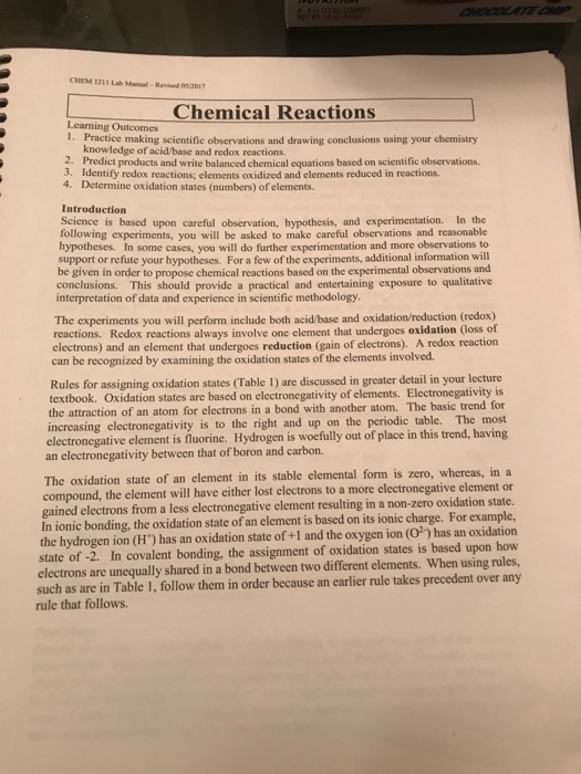 CHEM 1211 Lab Manual Revned 05201 Chemical Reactio    | Chegg com