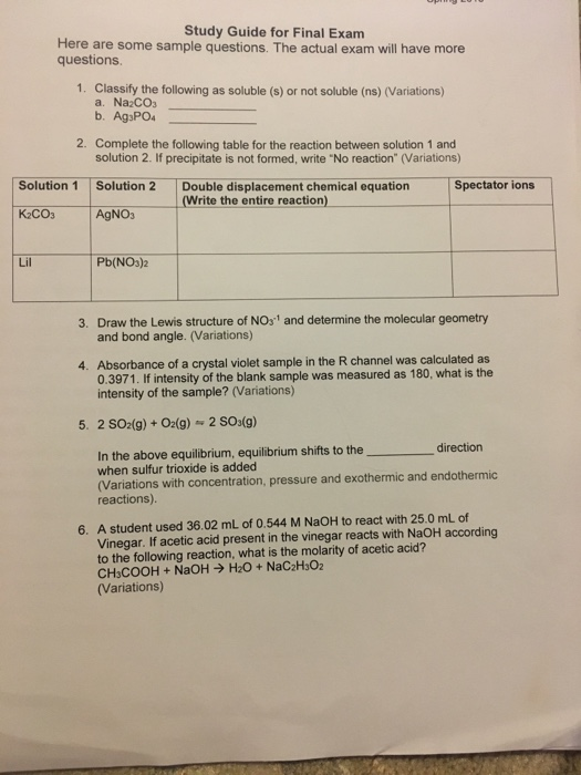 Solved: Study Guide For Final Exam Here Are Some Sample Qu