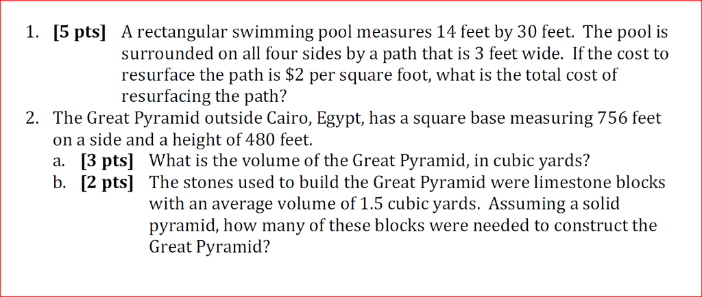 Question 5 pts a rectangular swimming pool measures 14 - A rectangular swimming pool is 30 ft wide ...