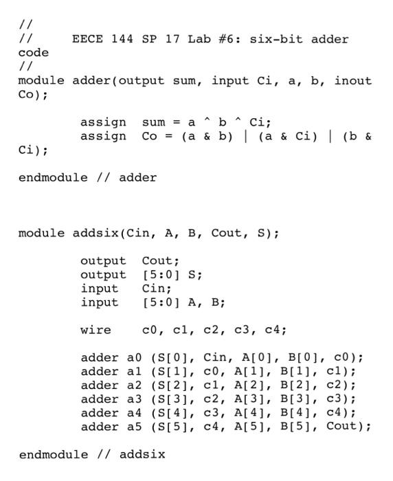 solved eece 144 lab 6 4 bit adder subtractor in verilog rh chegg com