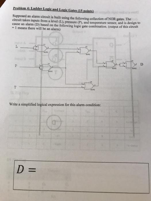 Solved: Problem 4: Ladder Logic And Logic Gates (15 Points