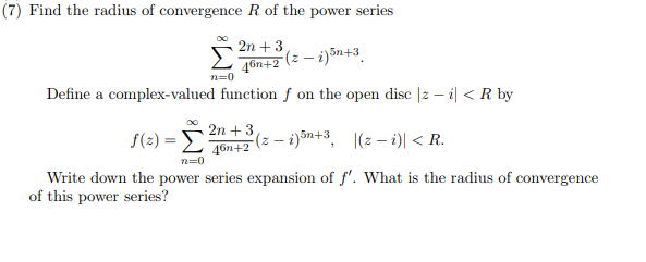 Solved: (7) Find The Radius Of Convergence R Of The Power