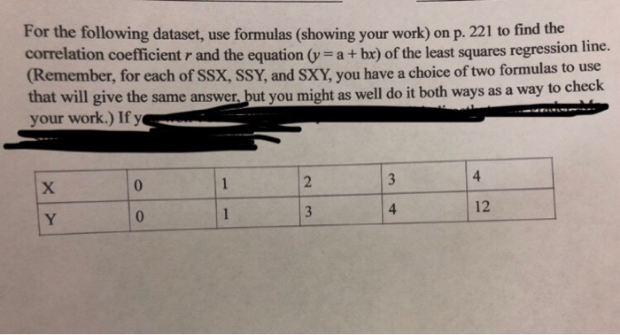 Solved: For The Following Dataset, Use Formulas (showing Y