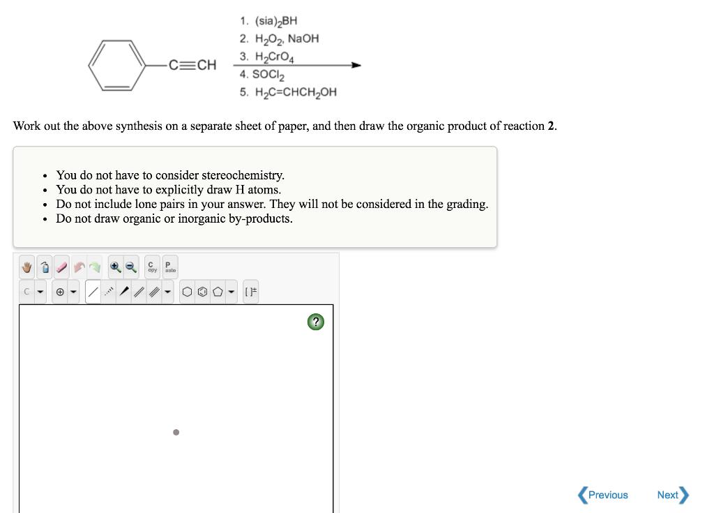 Solved: 1  (sia)2BH 2  H202 NaOH 4  SOCI2 5  H2C-CHCH,0H W