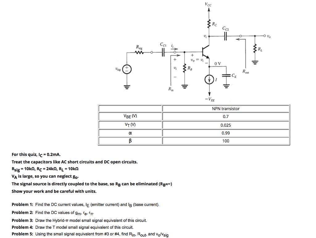 Solved C2 C1 Ce Npn Transistor 07 0025 099 100 Vbe V Wiring Diagram Vt