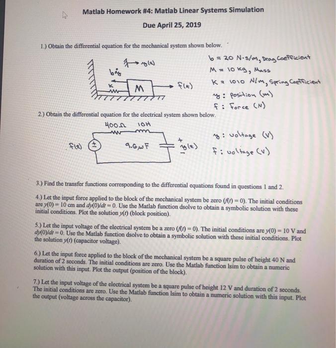 Solved: Matlab Homework #4: Matlab Linear Systems Simulati