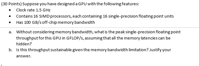 Solved: (30 Points) Suppose You Have Designed A GPU With T