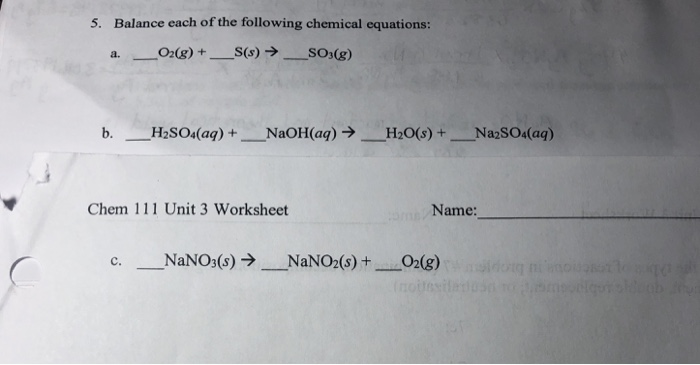 Solved: 5. Balance Each Of The Following Chemical Equation ...