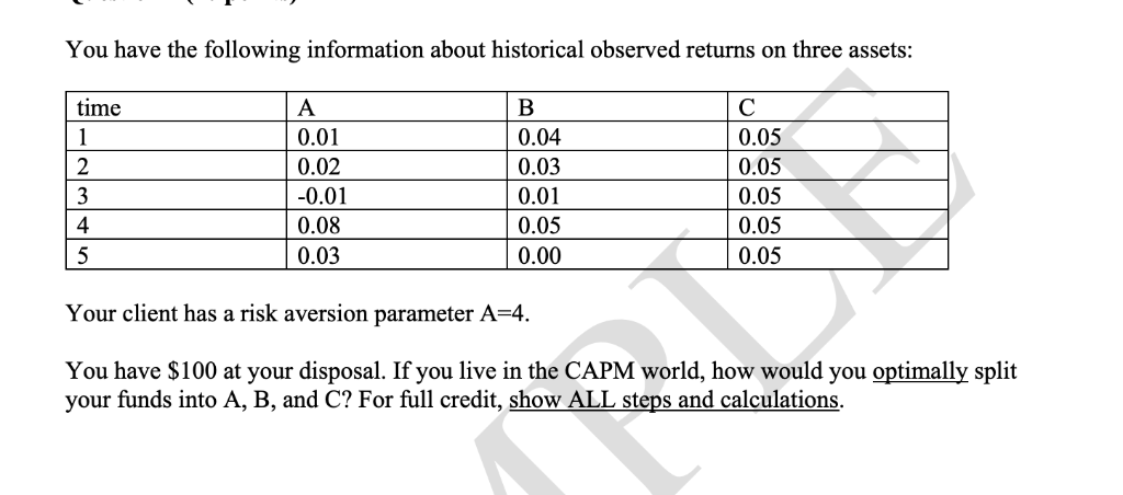 You have the following information about historical observed returns on three assets: time 0.01 0.02 0.01 0.08 0.03 0.04 0.03