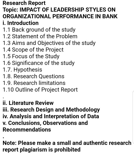 Research Report Topic: IMPACT OF LEADERSHIP STYLES