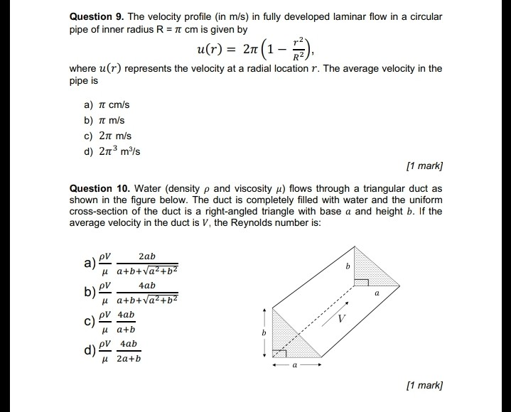 Solved Question 9 The Velocity Profile In Ms In Fully