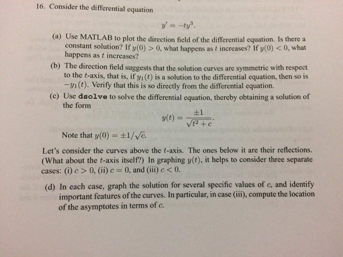 Solved: 16  Consider The Differential Equation (a) Use MAT