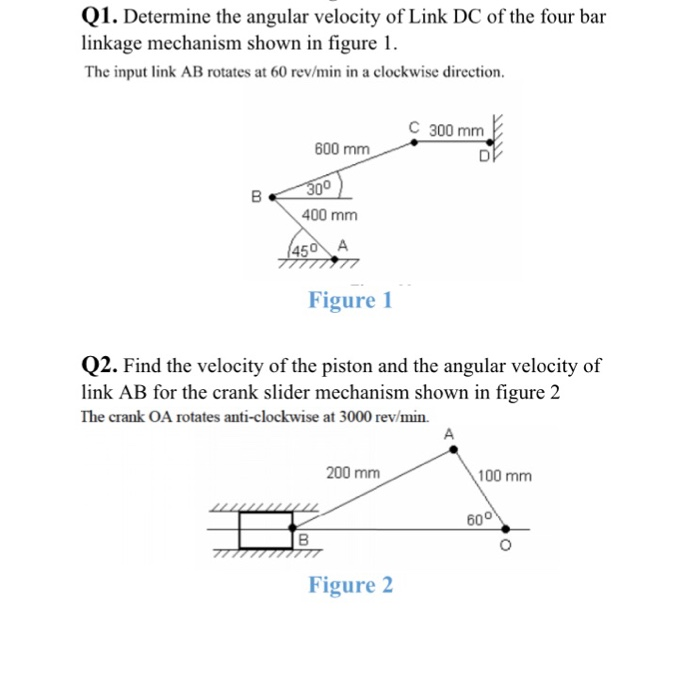 Solved determine the angular velocity of link dc of the f determine of link dc of the four bar linkage mechanism shown in figure l the input ccuart Images