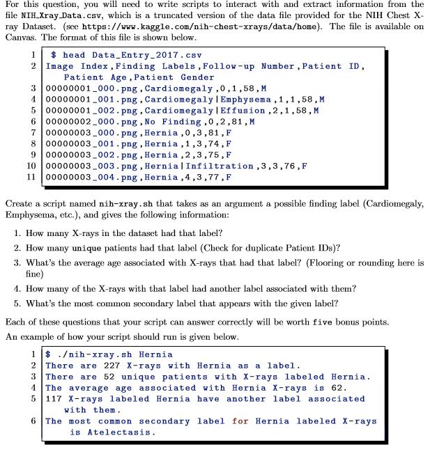 UNIX Shell Scripting Create A Script Named Nih-xra