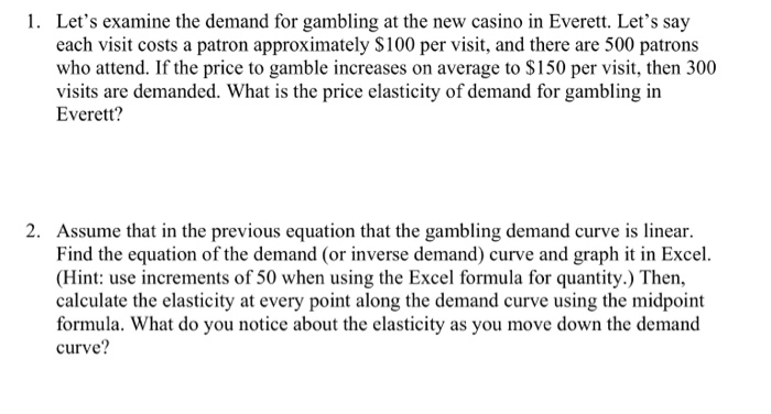 Solved 1 Let S Examine The Demand For Gambling At The Ne