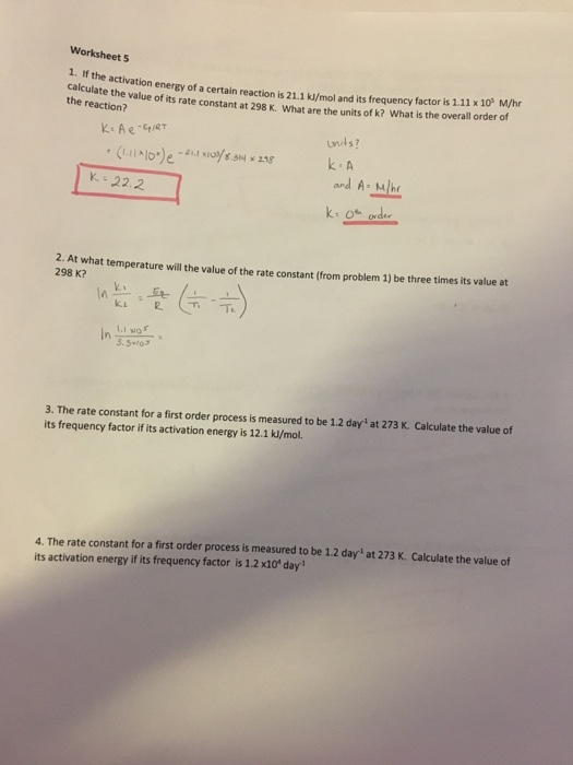 Solved: Worksheet 5 1. If The Activation Calculate The Val ...