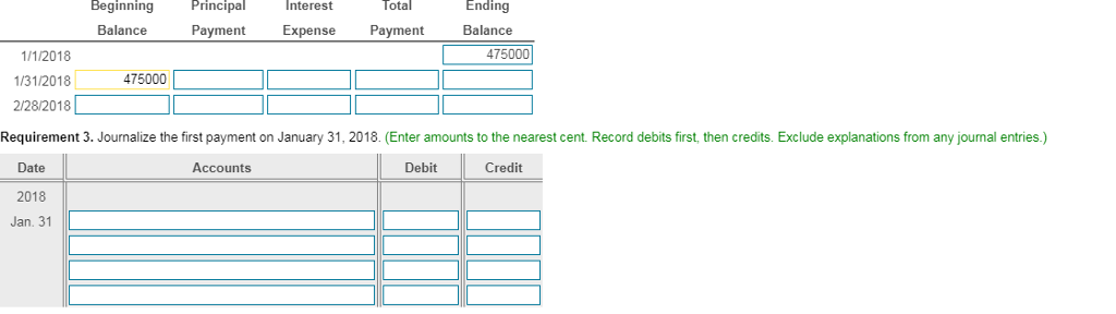 Beginning PrincipalInterest Total Ending Balance Payment Expense Payment Balance 1/1/2018 475000 312018 475000 2/28/2018 Requirement 3. Journalize the first payment on January 31,2018. (Enter amounts to the nearest cent. Record debits first,then credits. Exclude explanations from any journal entries) Debit Cred Date 2018 Jan. 31 Accounts
