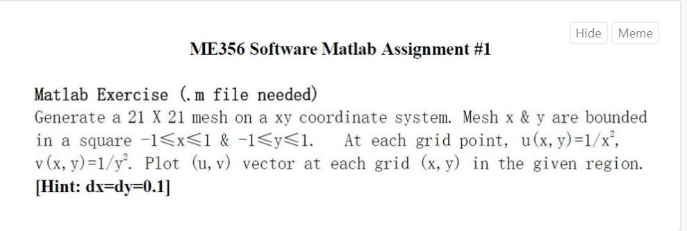 Solved: Hide Meme ME356 Software Matlab Assignment #1 Matl