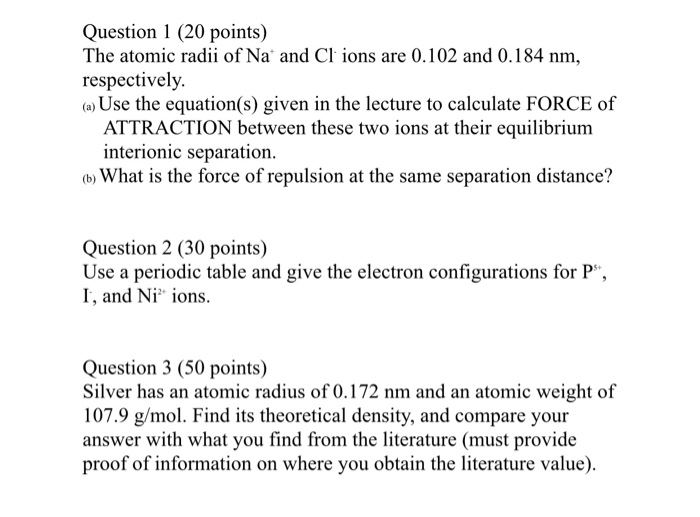 Solved Question 1 20 Points The Atomic Radii Of Na And