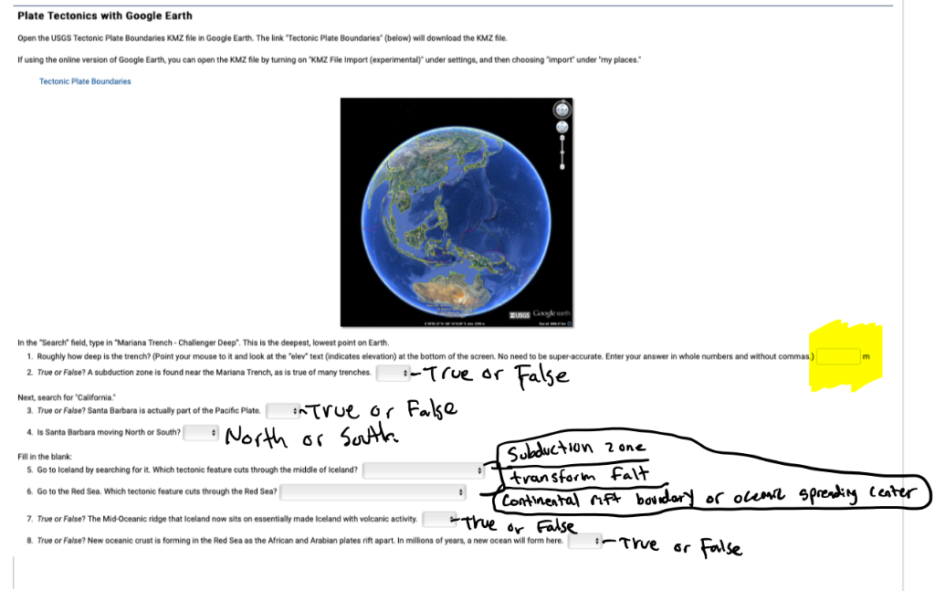 Solved: Plate Tectonics With Google Earth Open The USGS Te